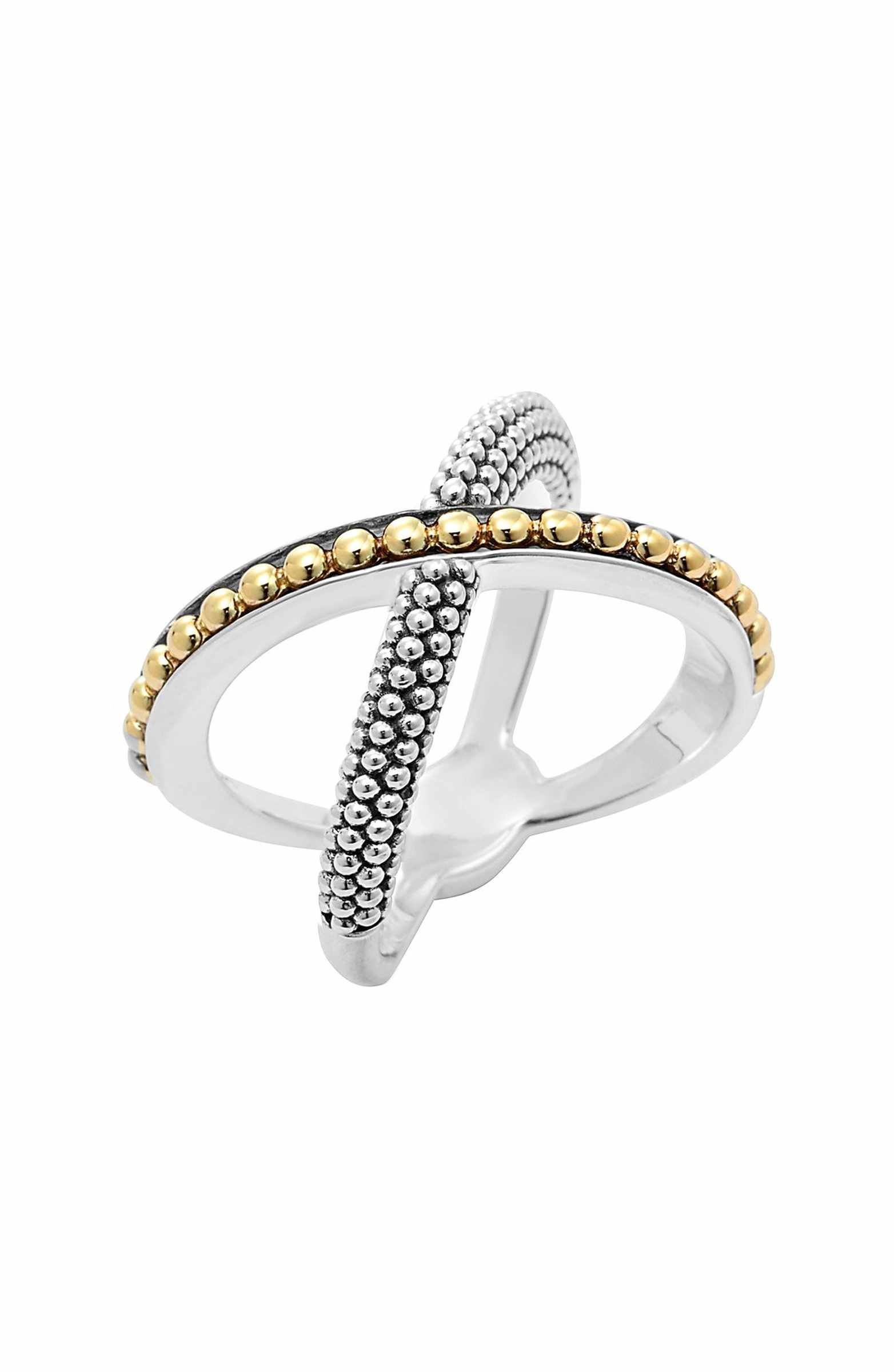 Lagos Sterling Silver & 18k Infinity Crossover Ring ASaFGT