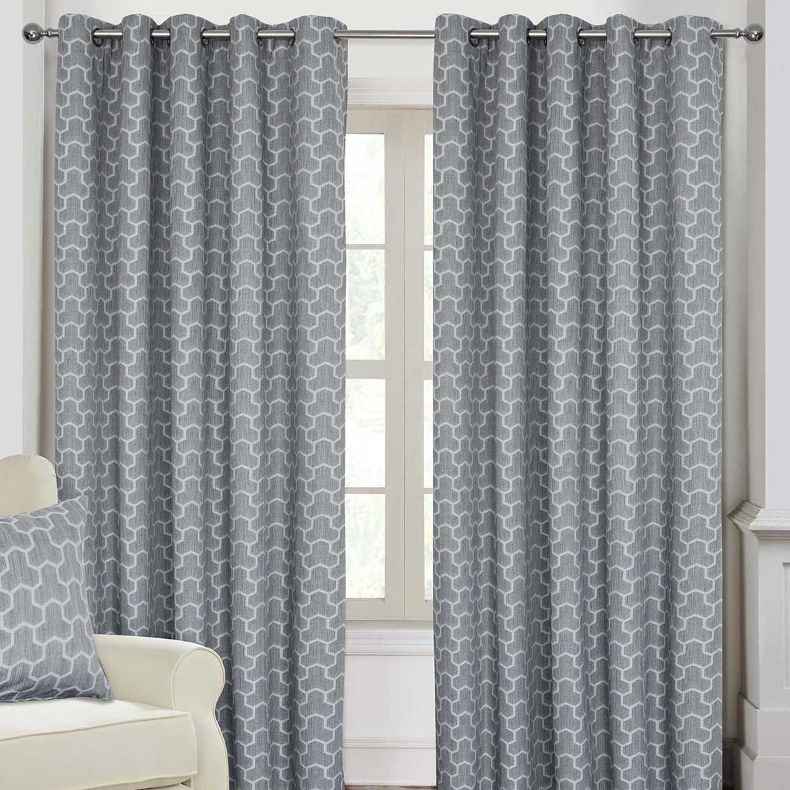 Grey Geometric Jacquard Blackout Eyelet Curtain Pair 90 X 9