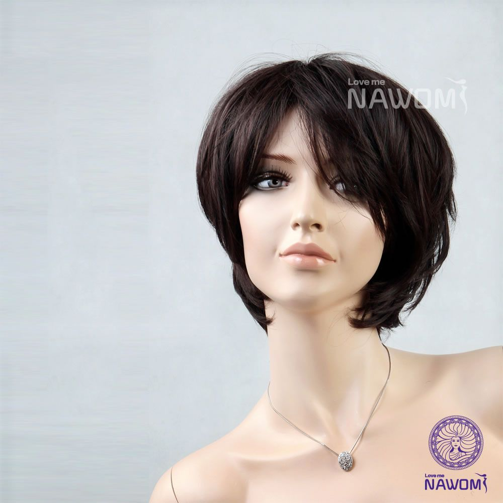 New short straight wigdark brownsynthetic u kanekalon hair