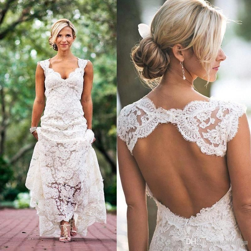 2017 Full Lace Wedding Dresses Country Style Pluging V Neck Cap Sleeves Keyhole Back A Line