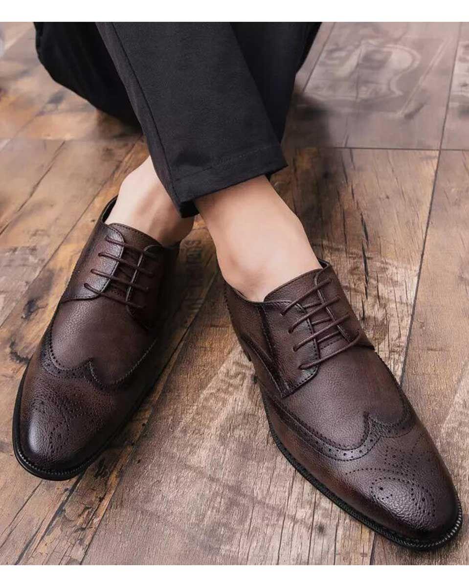 Brown Retro Brogue Leather Derby Dress Shoe 1742 Dress Shoes Men Dress Shoes Formal Shoes For Men