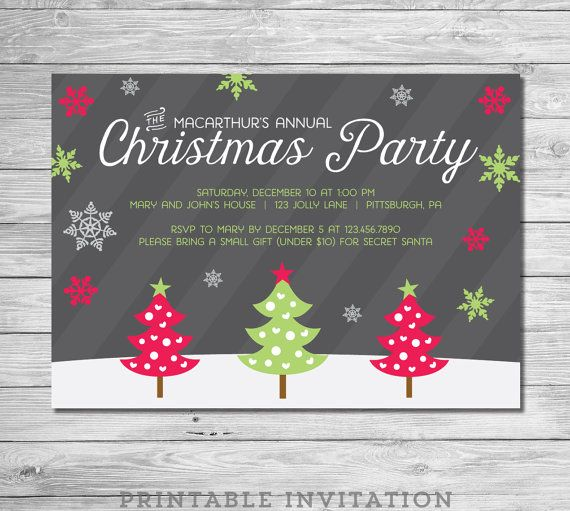 Christmas Party Invitation Christmas Party by EmAndBeaPaperie