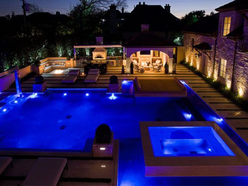 Swiming Pools Outdoor Floor Lights With Patio Accent Table Also Underwater  LED Light And Indoor Pool