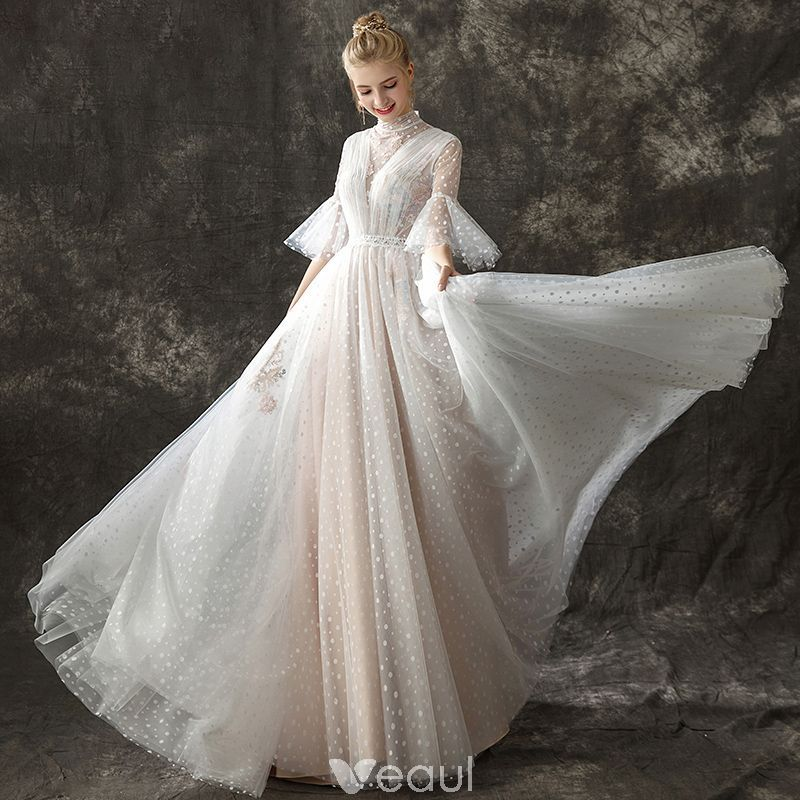 Vintage Wedding Dresses With Bell Sleeves: Vintage / Retro Champagne See-through Wedding Dresses 2018