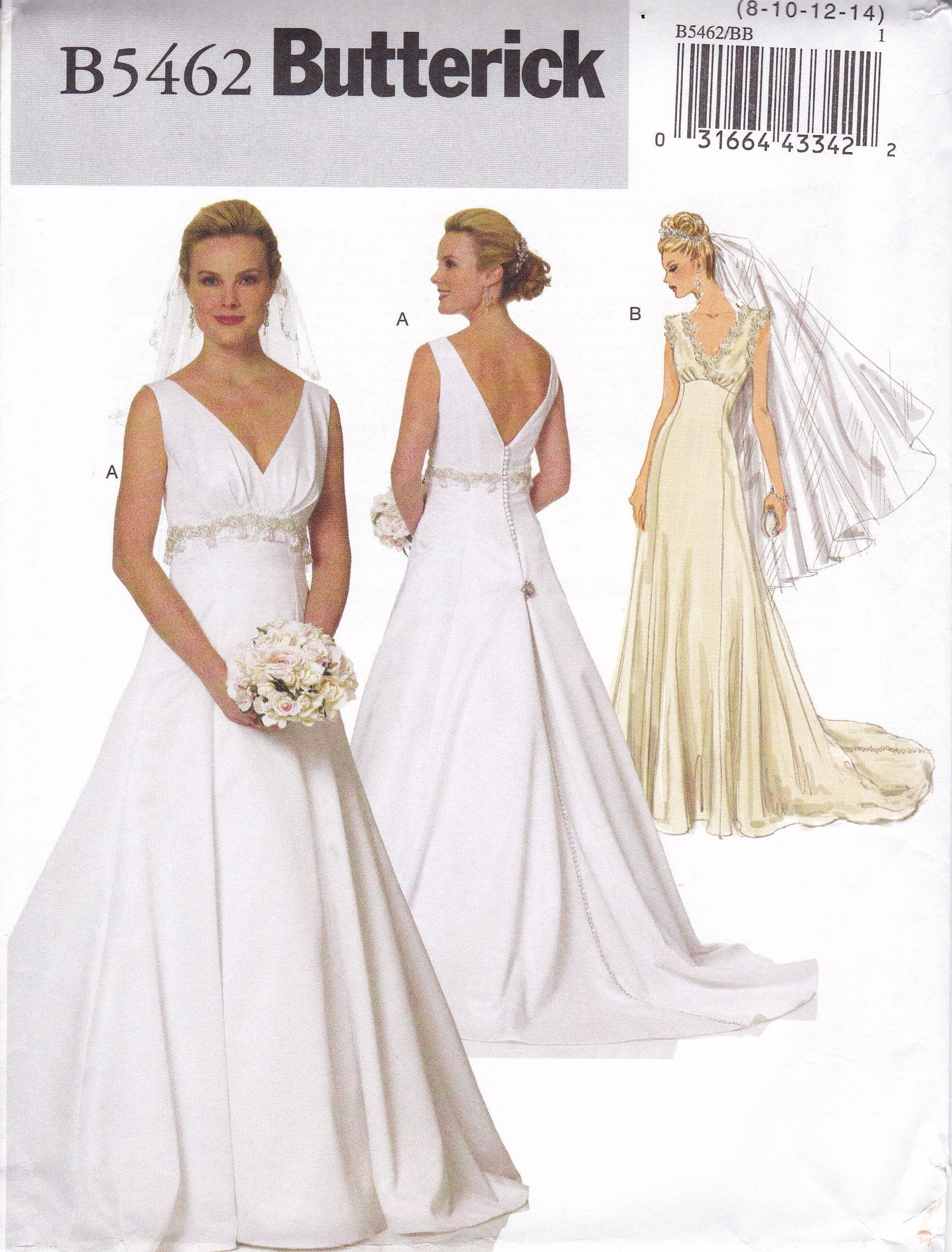 Size 20 a line wedding dress  FREE US SHIP Butterick  Sewing Pattern Wedding Bridal Gown Dress