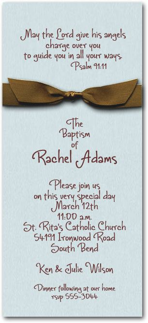 Shimmery Blue Baptism Invitation wrapped with a brown satin - invitation quotes for freshers party