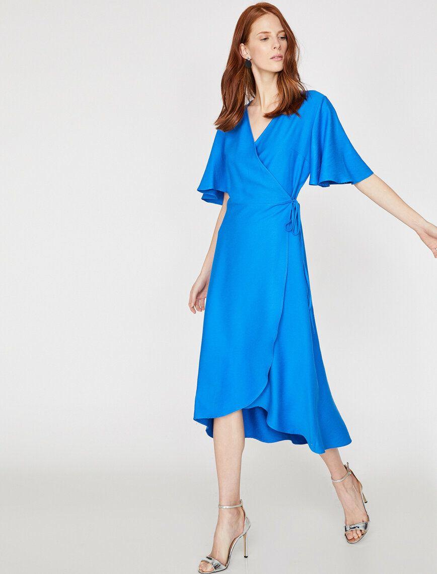 Beli Baglamali Elbise Midi Elbise Elbise Kadin Giyim