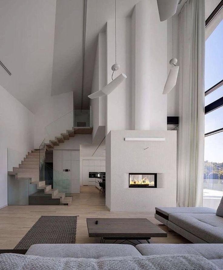 offener Wohnbereich   modernes Wohnzimmer   Kamin Inspiration Trending