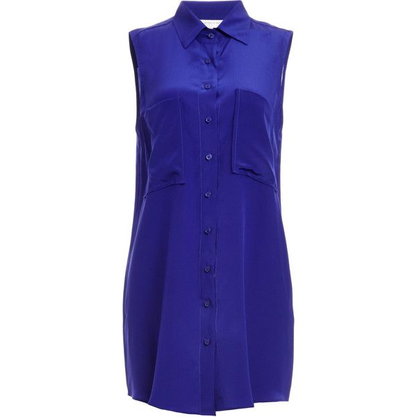 31513eca99dd2 Lavender Brown Sleeveless Button Down Silk Tunic ( 170) ❤ liked on Polyvore  featuring tops