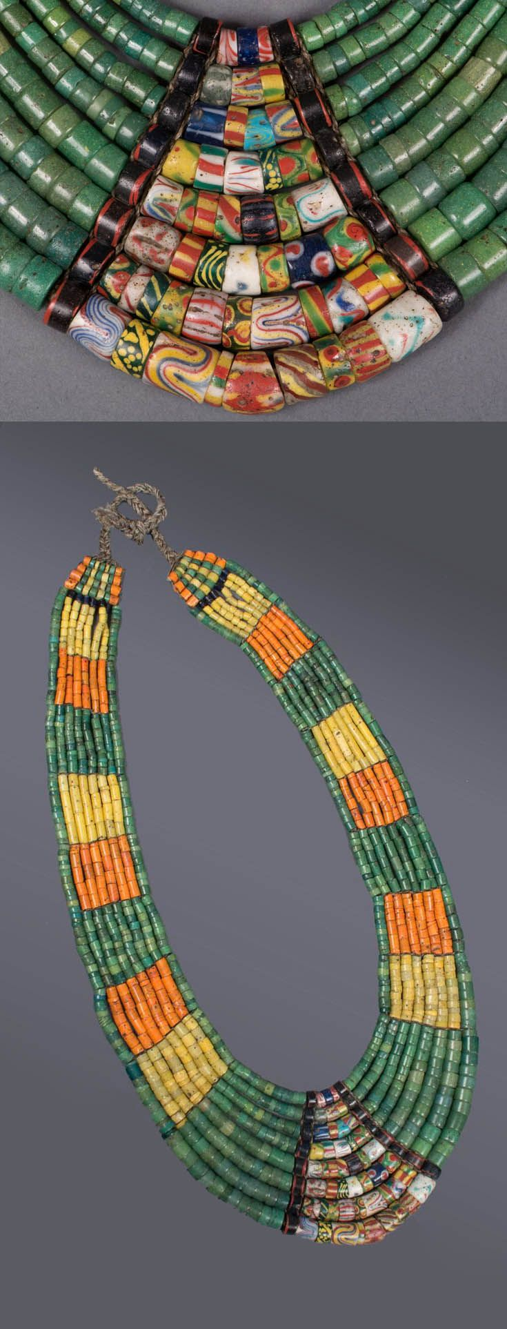 Taiwan | Beaded collar from the Paiwan people; antique glass beads, animal hair | ca. late 19th to early 20th century | Sold