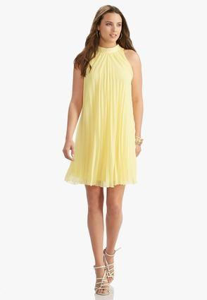 e52cddd647 Cato Fashions Pleated Cleo Neck Swing Dress  CatoFashions