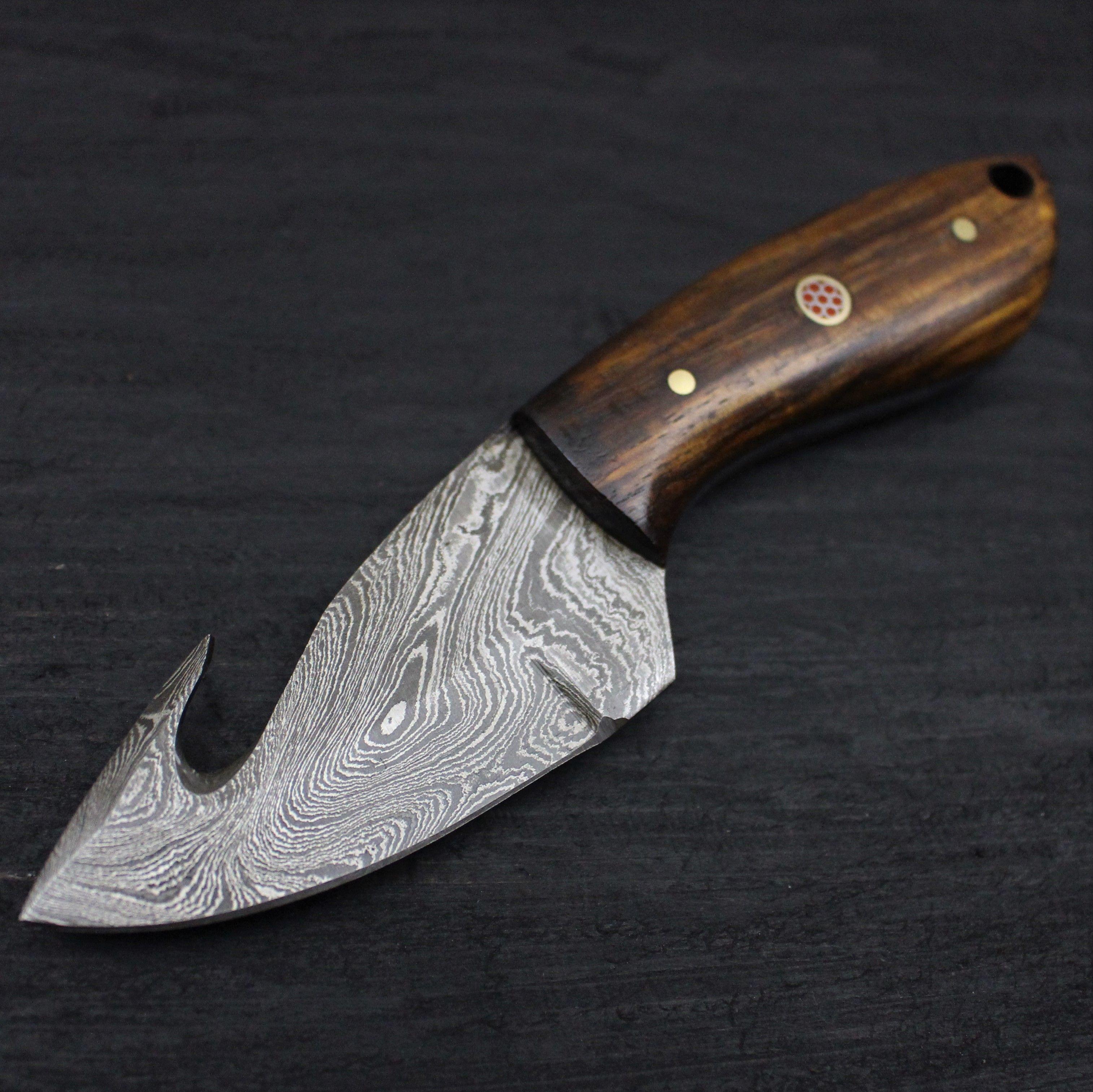 Gut Hook No 2 Damascus Steel 6 Skinning Knife Damascus Steel Skinning Knife Leather Sheath