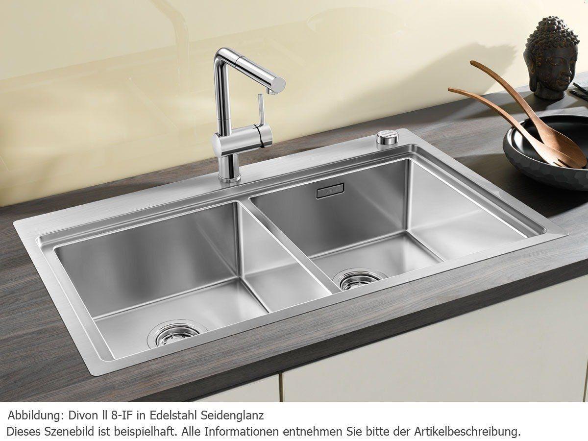Blanco Divon II 8 IF Einbau Spülbecken Edelstahl Spüle Doppelbecken  Küchenspüle: Amazon.