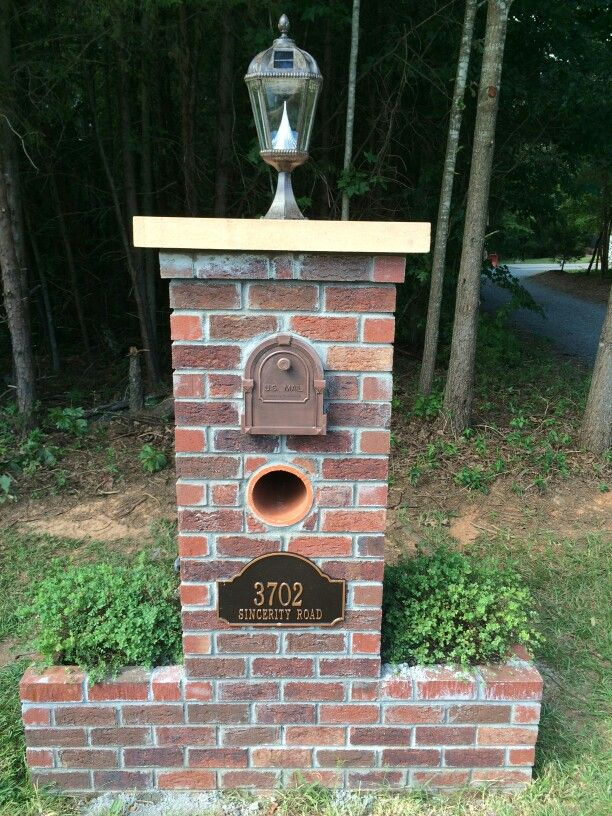Finished Brick Mailbox With Solar Lantern Brick Mailbox Mailbox Design Mailbox Landscaping