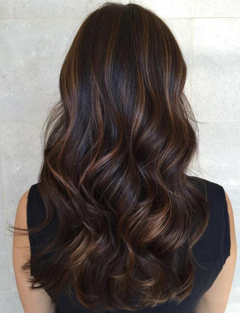 Silky Waves With Caramel Highlights Caramelhighlights Highlighting Balayage Balayage Hair Brunette Hair Color With Highlights Long Hair Styles