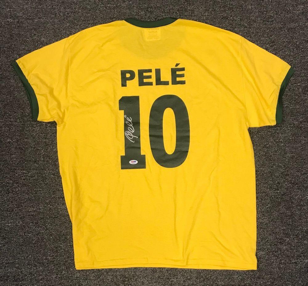 7980935df Pele  10 Signed Brazil Soccer Jersey Autographed AUTO Sz XL PSA DNA COA HOF