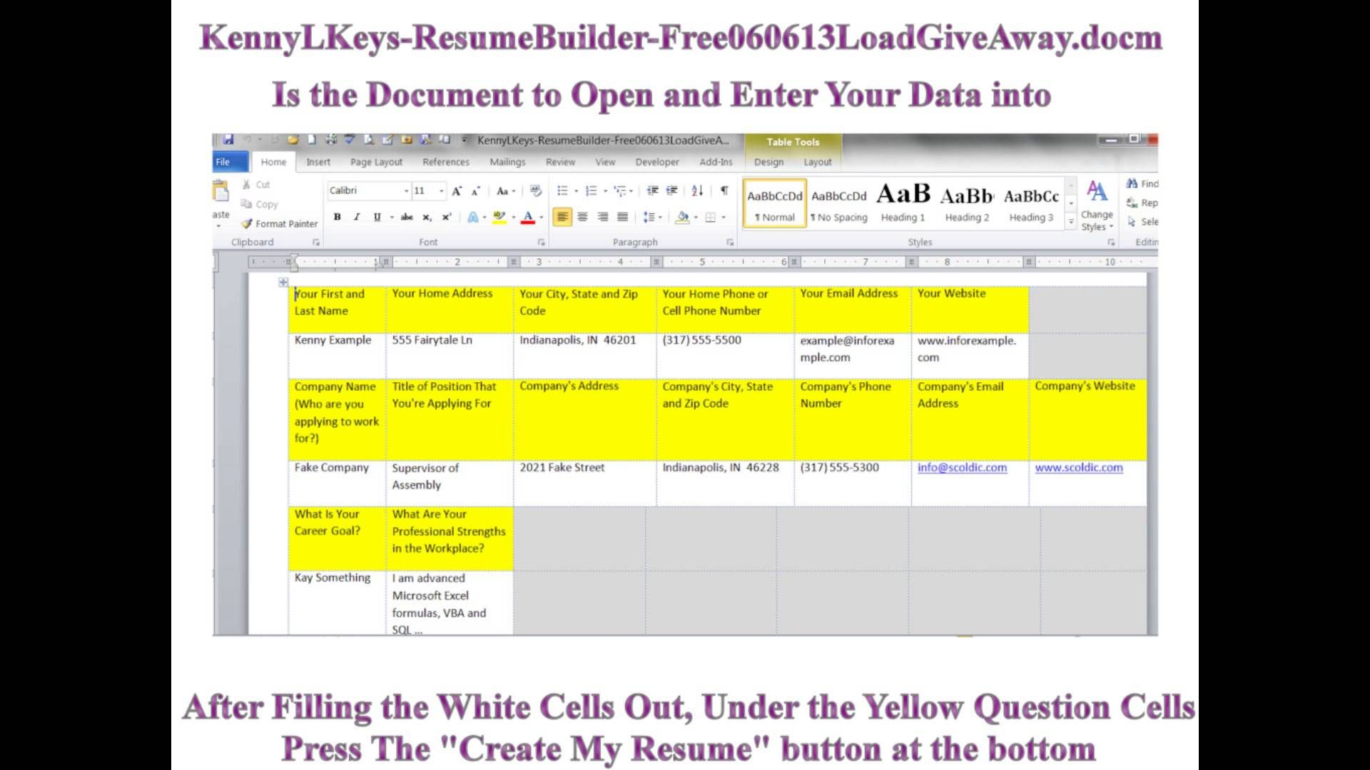 Microsoft Word Vba Creates Resume And Cover Letter Generator Kenny