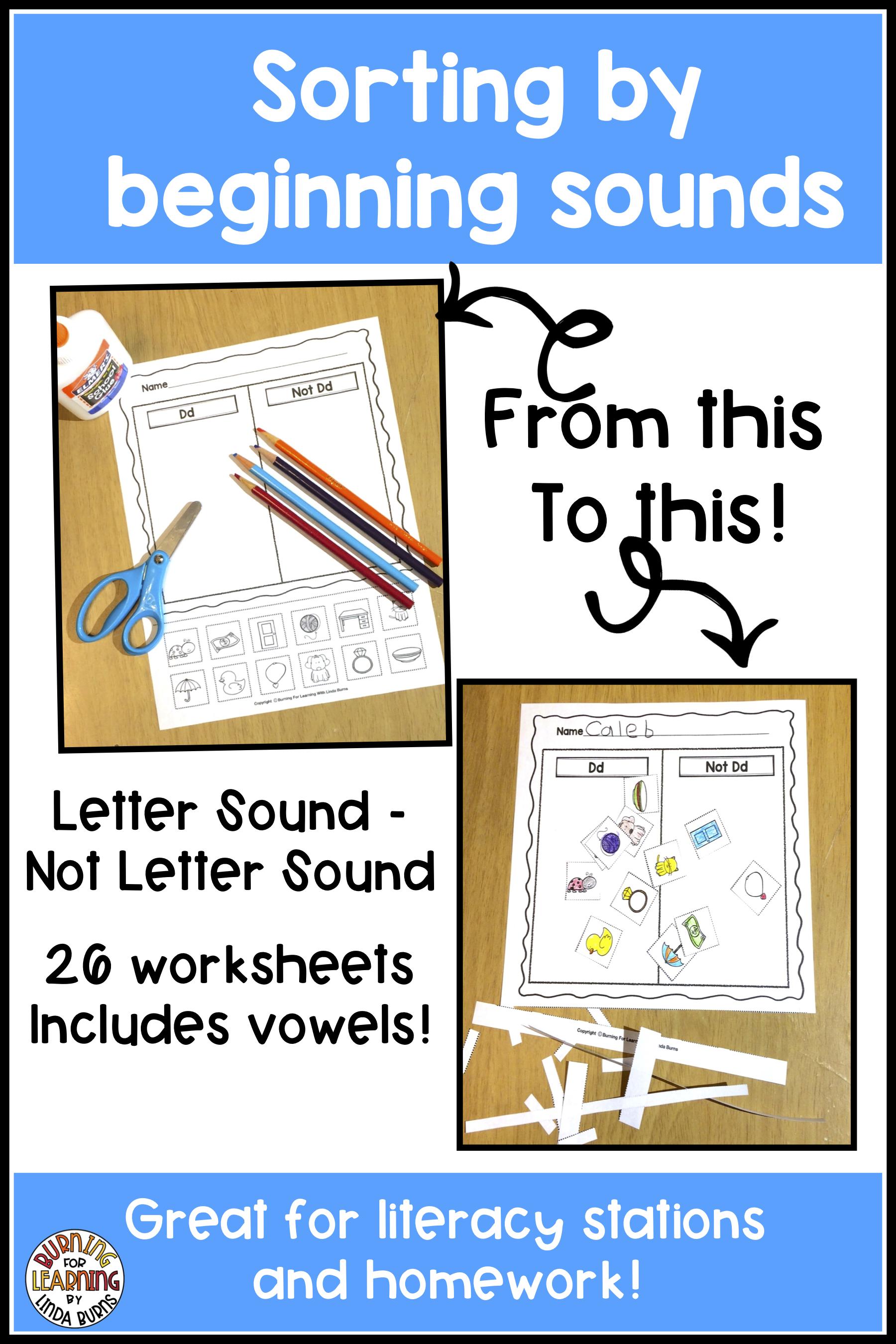 Sorting Beginning Sounds Worksheets