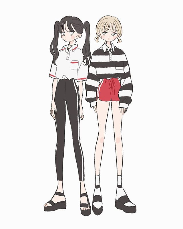 ジャージ系 Illustration イラスト 女の子 ファッション 韓国