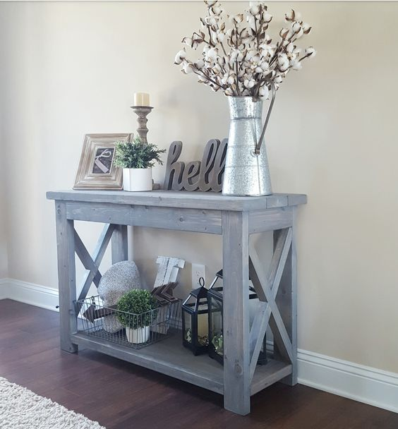 modified Ana Whites Rustic X Console table and used