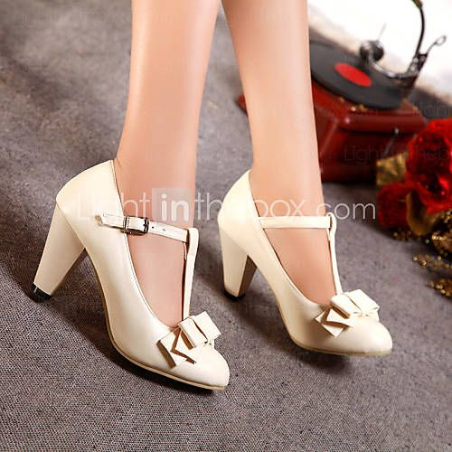Women's Shoes Leatherette Chunky Heel Heels / Round Toe Heels Office &  Career / Dress / Casual Black / Green / Pink