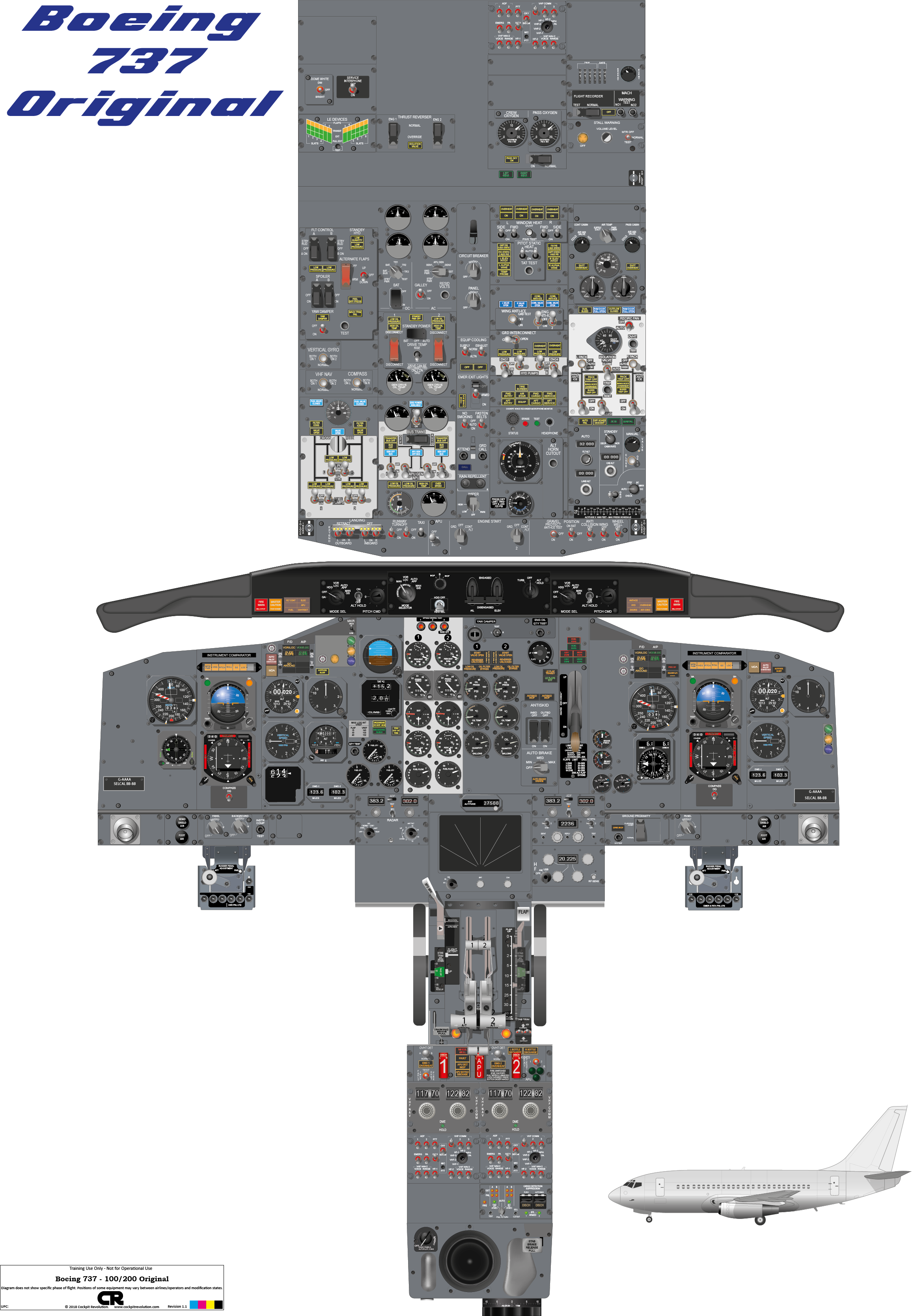 Cockpit poster of the Boeing 737-100/200 Original drawn from