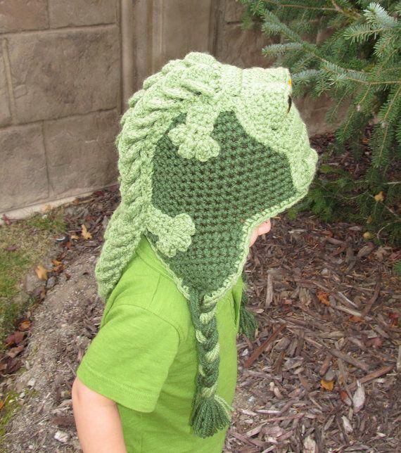 Crocodile / Alligator Crochet Hat w/ Earflaps | Gorros de crochet ...