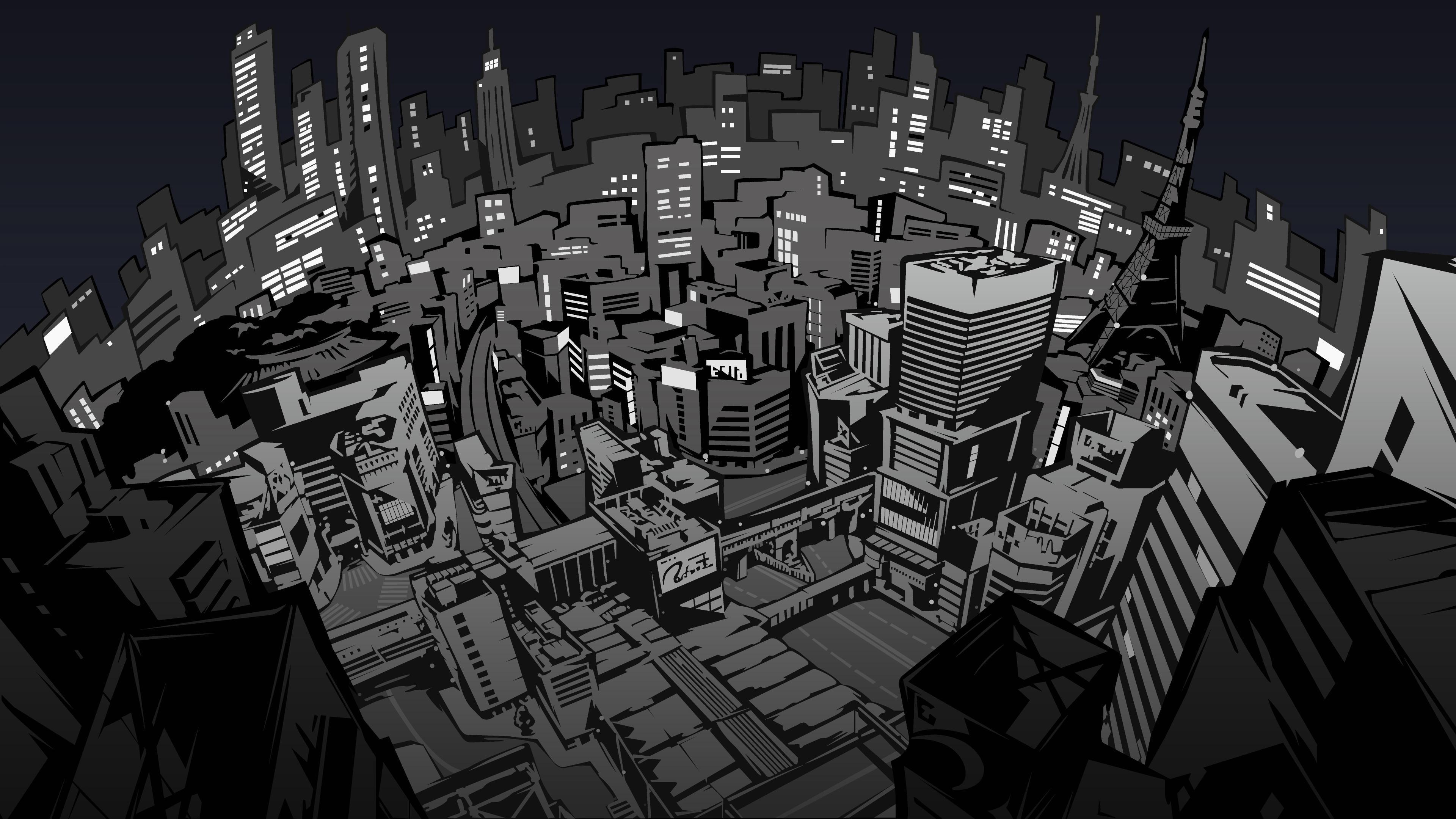 Persona Nighttime Tokyo 4K wallpaper   City illustration ...