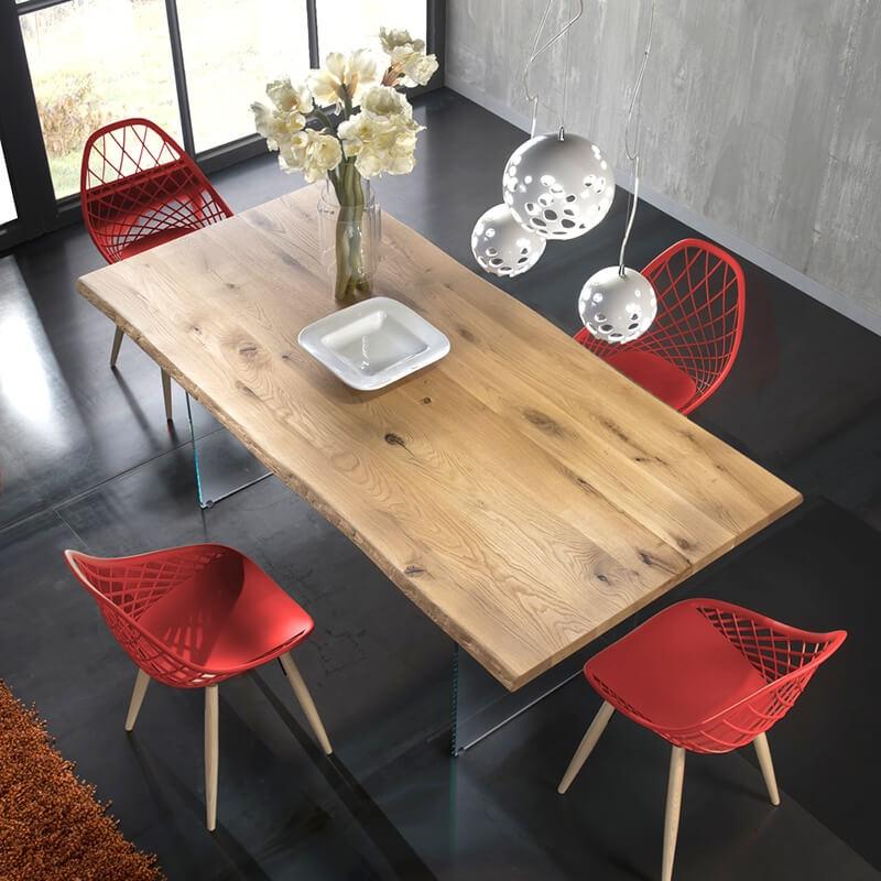 Table Design Rectangulaire En Bois Avec Pieds En Verre 13 05 Table Design Mobilier De Salle A Manger Salle A Manger Design