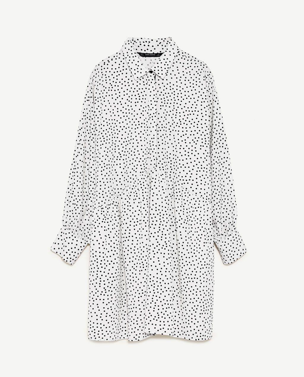 Image 8 Of Polka Dot Shirt Dress From Zara Hemdblusenkleid Lange Hemdkleid Hemd