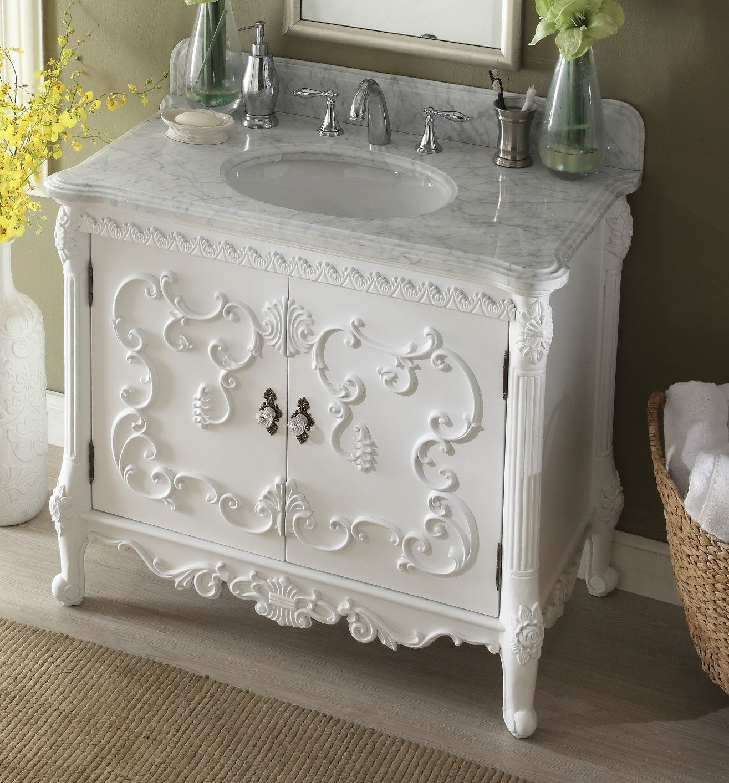 40 Inch Adelina Antique White Finish Bathroom Vanity Carrara