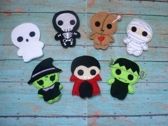 Halloween Finger Puppets Witch Mummy Vampire Voodoo Doll Frankenstein Ghost by EODdesign on Etsy