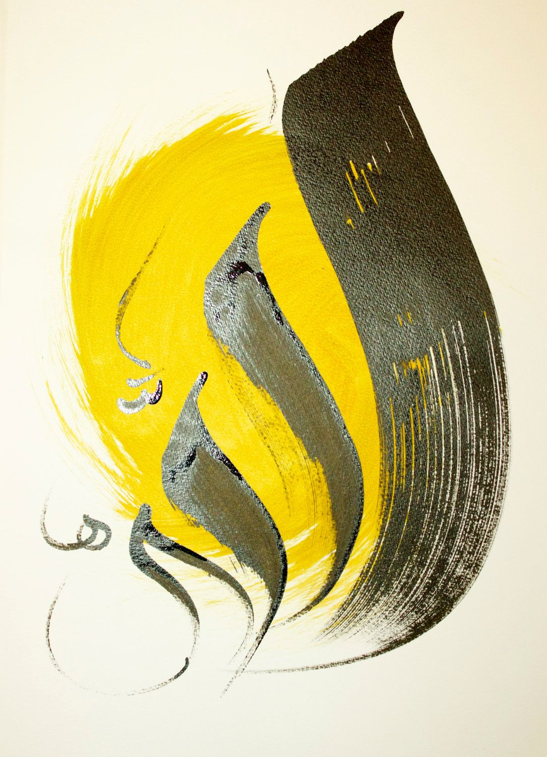 Three ORIGINAL Arabic Calligraphy paintings The word by ...