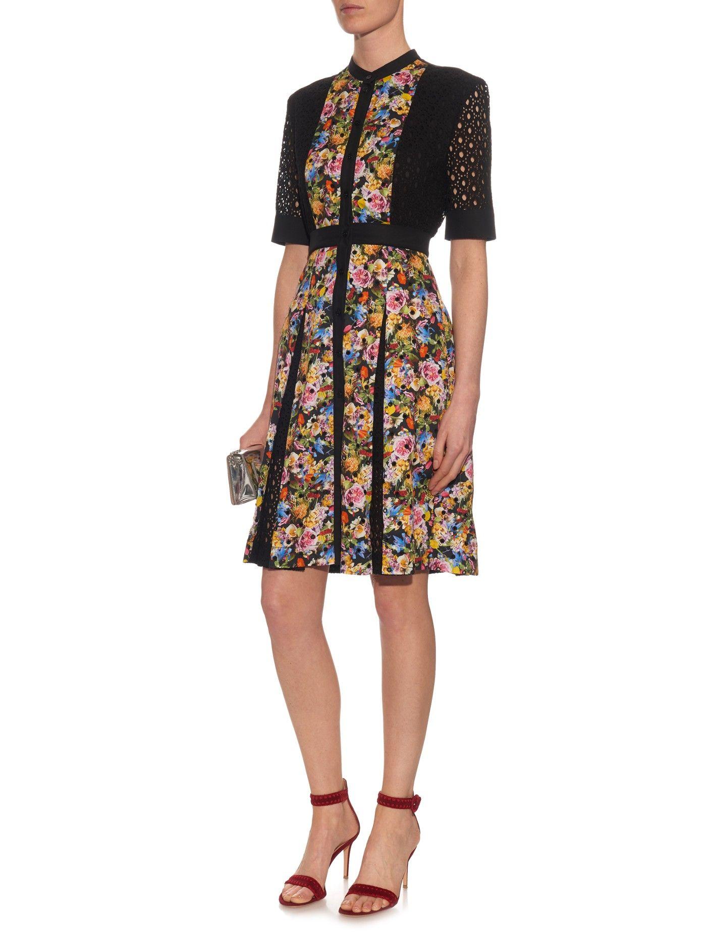 Caule floral-print broderie-anglaise dress | Mary Katrantzou | MATCHESFASHION.COM UK