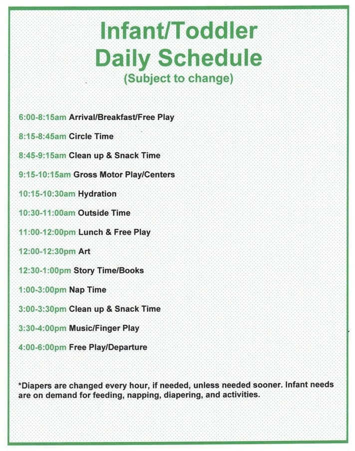 Infant and Toddler Program daycare Pinterest Infant - infant daily schedule