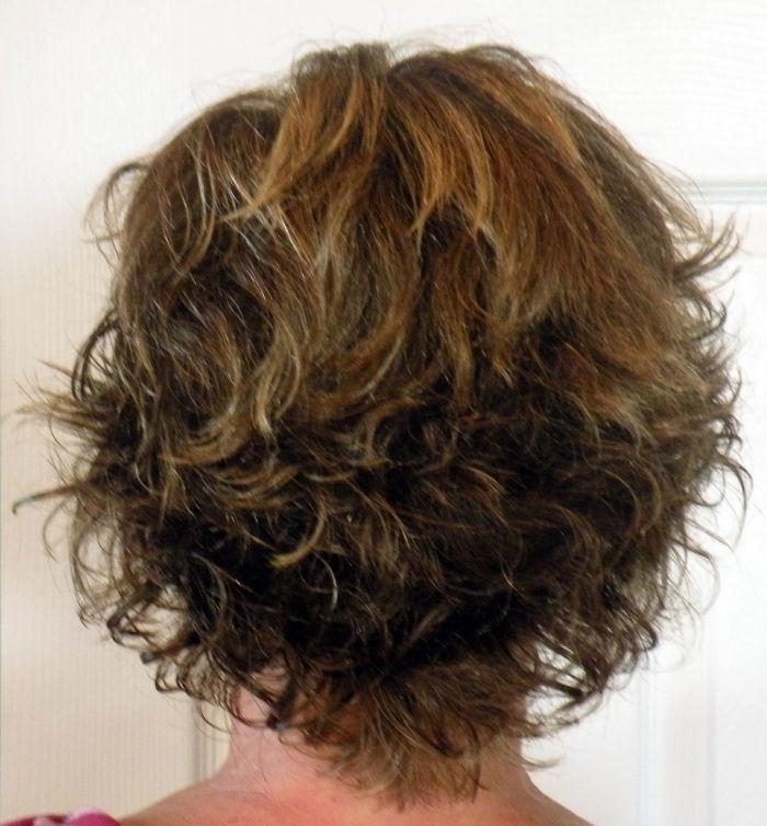 Womens Naturally Curly Short Shag Haircut Blonde Highlights 50 S