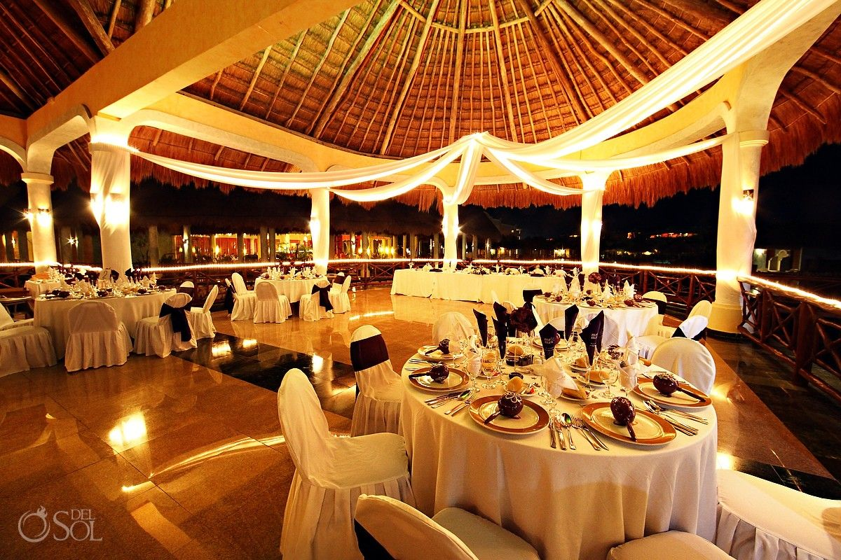 Riviera Maya Wedding At Grand Palladium Kantenah Elegant Reception Set Up Under A Soaring Palapa