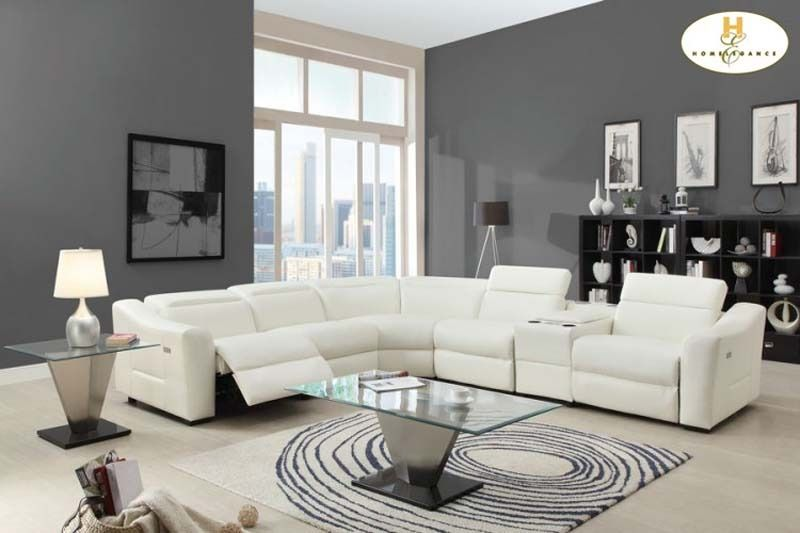Modern White Leather Reclining Sectional Sofa Chaise Console Speaker ...