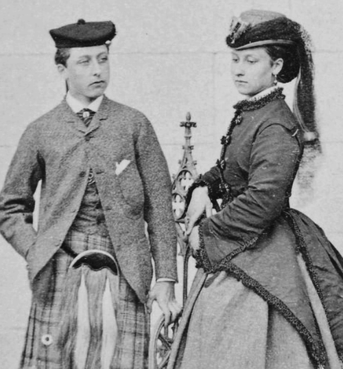 Prince Arthur Duke of Connaught and Strathearn and Princess Louise Duchess of Argyll, Balmoral October 1866.