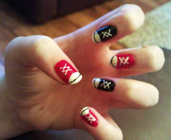 40 Creative Nail Art Designs for Inspiration - Converse Nails! Nails Pinterest Converse Nails, Emo Nail Art