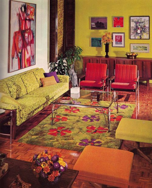 Living Room Designs Funny Colorful Living Room Decorating: Old-ads-and-mags: 1960s Living Room; So Many Good Pieces
