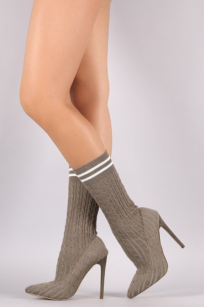 Women's Chunky High Heels Mid Calf Boots Heel Knit Winter Elegant Pointed Toe Shoes