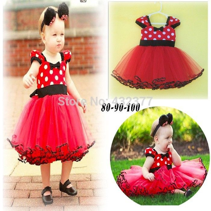 Clearance Red Christmas Baby Dress For Baby Girls Summer Chiffon