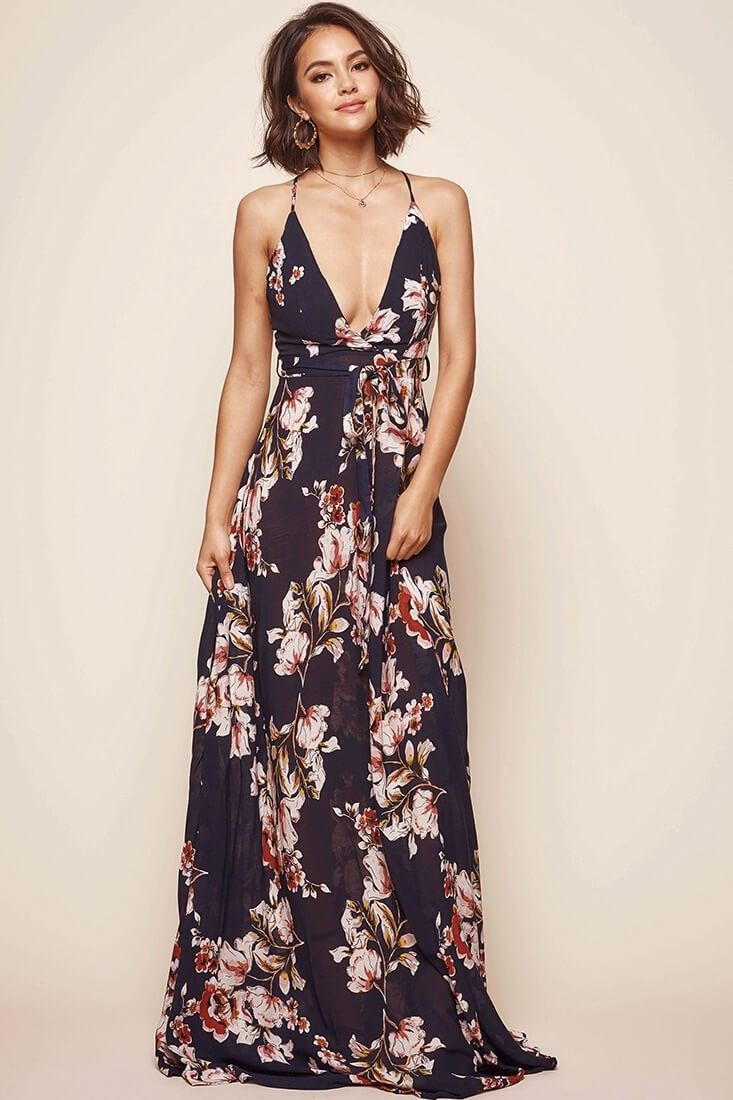 Calabasas floral waist tie maxi dress navy clothes pinterest