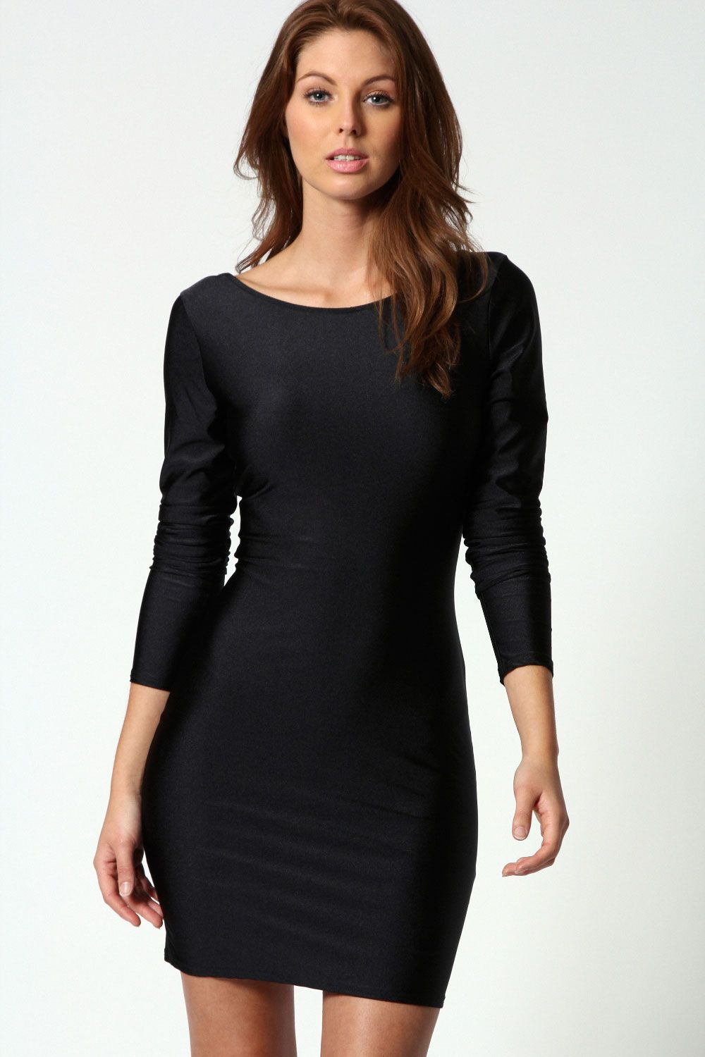 Bodycon black dress with sleeves