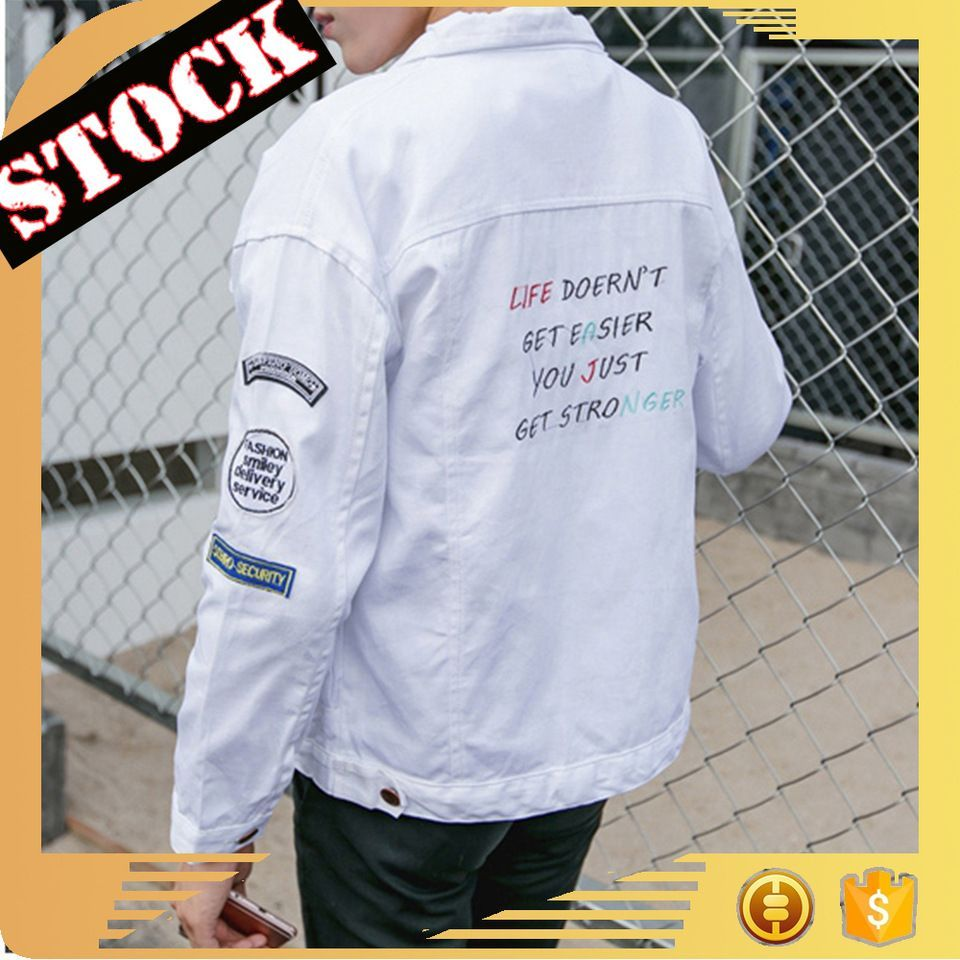 L082 Wholesale Men Denim Jacket Fall And Winter White Letter Print Long Sleeve Jeans Coats Fashion clothing 2017