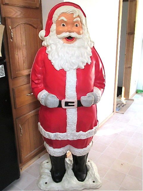 1960 S Life Size Blowmold Celluloid Santa Claus Polk Bros Promotion Authentic Ebay Retro Christmas Vintage Christmas Cards Vintage Christmas