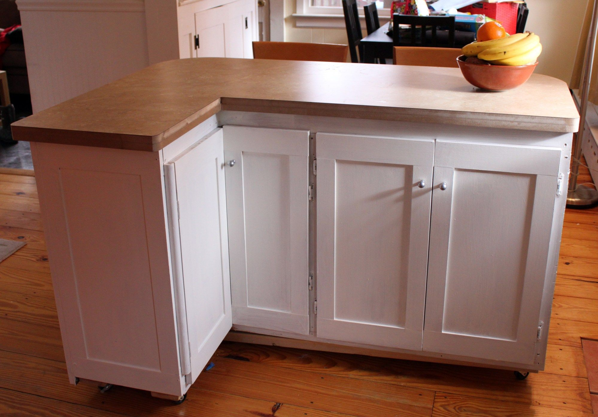 Rolling Kitchen Island L Shaped Design with Granite Top