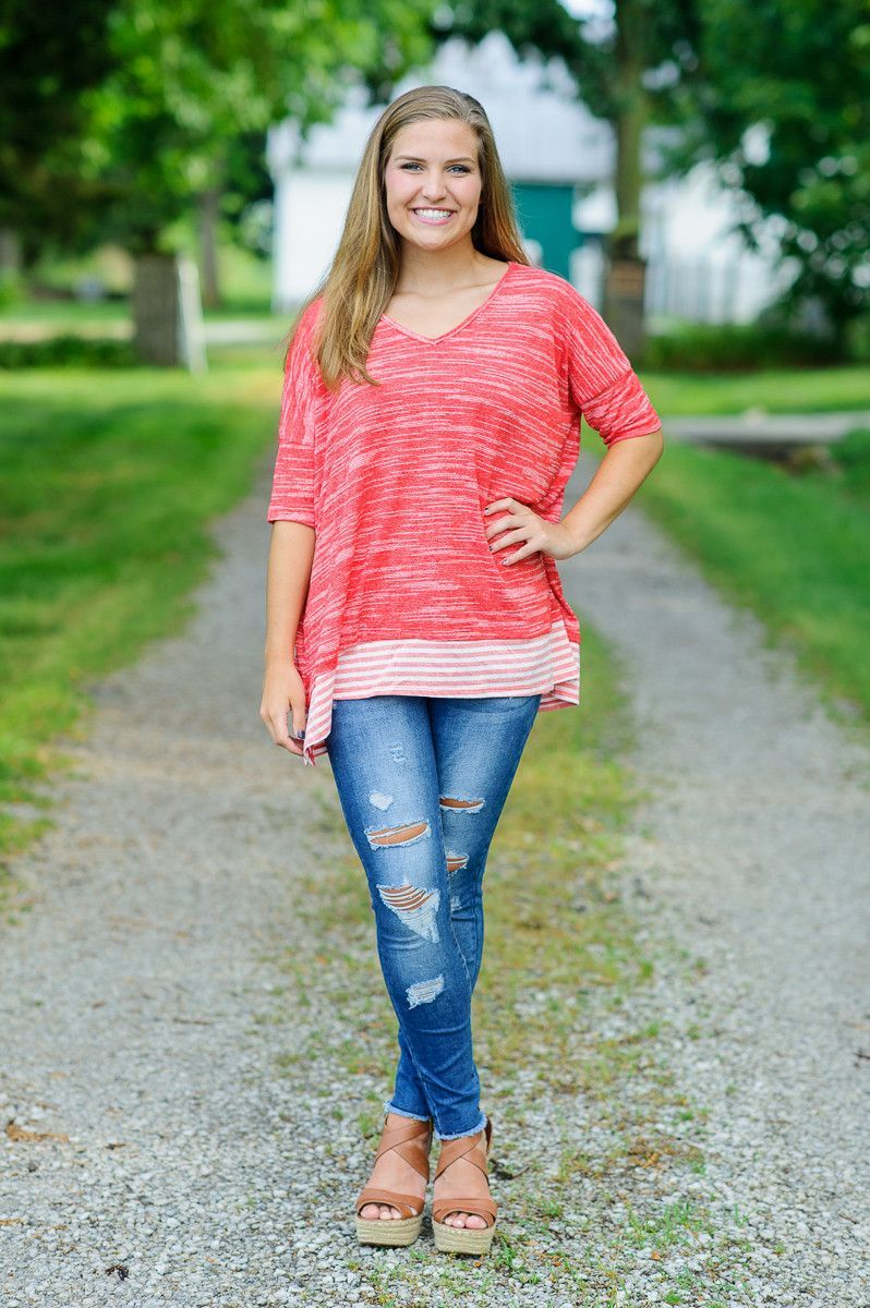 Easy Going Striped Trim Top-Red