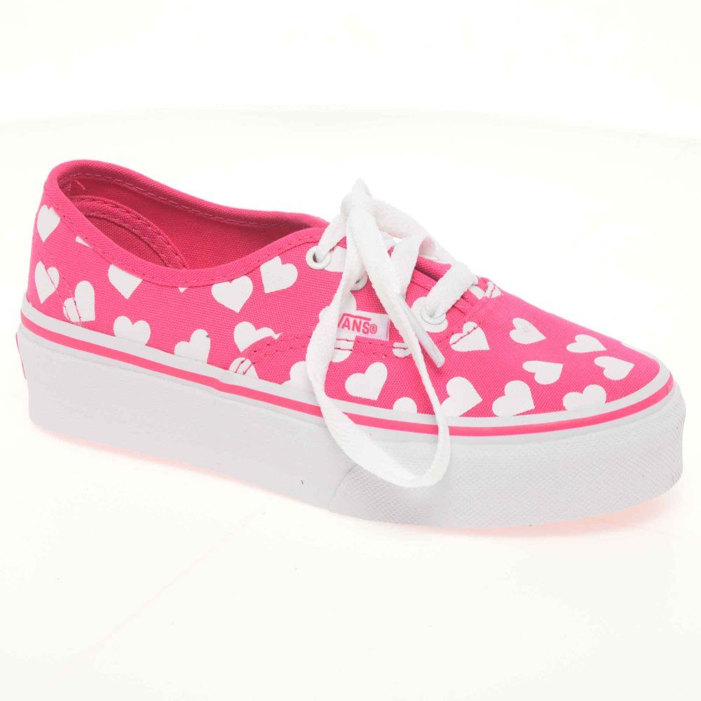 Vans Authentic Canvas Pink Hearts Lace Up Girls Shoes   Heart ...